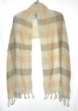 Vintage Pink Gray & Brown Plaid Lightweight Fringe Wool Scarf Shawl/Wrap