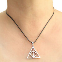 Harry Potter Deathly Hallows Charm Pendant Necklace with Black Cord