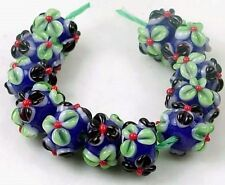 Lampwork Handmade Cobalt Blue Green black red Flower Rondelle Beads (12)