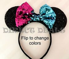 Minnie Mouse Ears Headband Teal Fuchsia Color Changing Flip Sequin Reversible