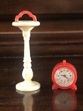 vintage Dollhouse Miniature 1:12 Renewal alarm Clock red & ashtray