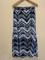 Autograph Blue print maxi skirt with front splits, size 14.