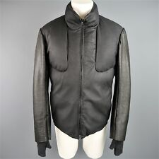 ISAAC SELLAM XL Black Deer & Lamb Leather High Collar Down Jacket