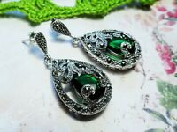 My S Collection 925 Sterling Silver & Marcasite Green CZ Teardrop Earrings