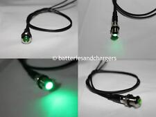 8mm 12V Green  LED Metal Indicator Pilot Dash Light Lamp With Wire