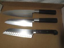 "lot of 3 KAI WASABI DEBA KNIFE 6621D, 6721D, Faberware Pro Forged 6 5/8"" Blade"
