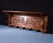 "*39"" Vintage French Oak Coat Rack/Wood Shelf with Brass Hooks"