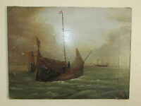 19th Century Oil Painting On Canvas ' Seascape ', Signed By Dutch Artist C.T