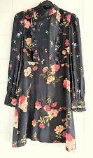 ZARA Woman Long Sleeve Black w Flowers & Lace Back Dress Size S