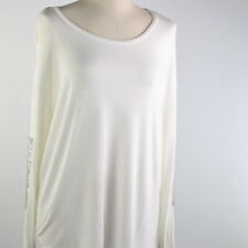 Edit by Jeanne Beker Long Sleeve Blouse Sequins Round Neck Off White Size XL