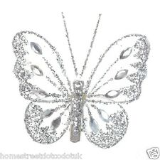 Clip On Butterflies Small Glitter Diamante Nylon Many Colours Floral / Weddings
