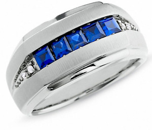 Men's Lab-Created Blue Sapphire Diamond Ring in 10K White Gold
