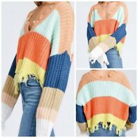 Storia Women's Cropped V-Neck Colorblock Chenille Knit Distressed Sweater Med