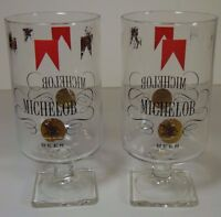 Vtg 1960s 1970s SET OF 2 MICHELOB Anheuser-Busch BEER GLASSES ST. LOUIS MISSOURI