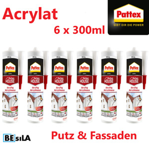 Pattex Bauacyl Maleracryl weiß Fugendicht Dichtmasse Dichtstoff 6 x 300ml
