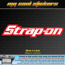 Strap On 20cm Vinyl Sticker Decal, 4X4 Ute Car funny Snap On Parady JDM Drift