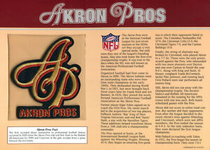 AKRON PROS ~ Willabee & Ward ~ NFL GOLDEN AGE of FOOTBALL PATCH & INFO STAT CARD