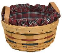 Longaberger Woven Traditions Button Basket 2001, Plaid Tidings Liner