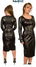 Misfitz black leather look buckle skirt. Sizes 8-32/made to measure Goth Punk TV