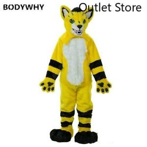 Yellow Long Fur Husky Fox Dog Wolf Dog Fox Mascot Costume Cosplay Party Fursuit