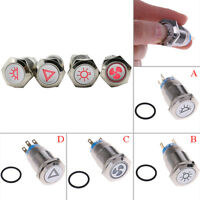 19 mm 12V red self-locking metal button switch car indoor overhead light switch