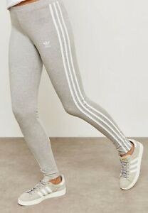 Adidas Originals 3-Stripes Embroidery Women's Leggings Grey 8,10,12,14 CY4761