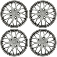 "4 Piece SET Hub Caps MATTE GUNMETAL 15"" Inch Wheel Covers for OEM Rims Cover Cap"
