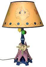 RARE Original CZECH ART DECO Figural Porcelain Lamp PIERROT CLOWNS w/ BALLOONS