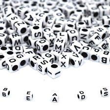 100 Alphabet Letter Beads White Black Hole Mixed Cube Dummy Clips *3 for 2*