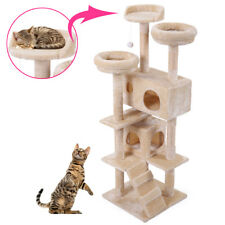"""New listing 60"""" Cat Tree Tower Condo Furniture Scratching Post Pet Kitty Play House Beige"""