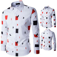 Fashion Men Casual Long Sleeve Shirt Business Slim Fit Shirt Printed Blouse Top