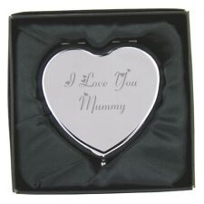 Engraved I Love You Mummy Heart Hand Compact Mirror & Gift Box FREE ENGRAVING