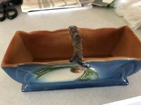 RARE 30s - roseville pottery pinecone blue window box And vase