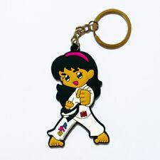 Taekwondo Key Ring Girl Martial Arts Keychain Gift Idea Pomsea