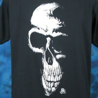 vintage 80s GRIM REAPER SKELETON PAPER THIN T-Shirt L/XL skull biker punk rock