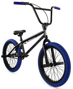 "Elite 20"" BMX Stealth Bicycle Freestyle Bike 1 Piece Crank Black Blue NEW 2021"