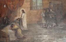 Vintage large religious portrait oil painting