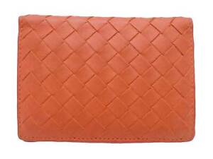 Auth BOTTEGA VENETA Intrecciato Card Holder Pass Case Orange Leather - e47878f