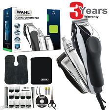 Wahl 79524-810 Deluxe Pro Chrome Complete Hair Clipper Nose Ear Trimmer Kit New