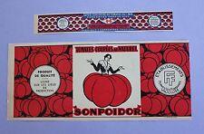 2 ancienne étiquette boite conserve tomate Sonpoidor 2 taille Vaucluse