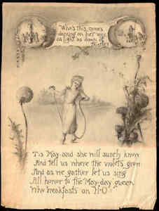 ORIGINAL H-O OATS MAY DAY ADVERTISING ART BY MAINE ARTIST c1890