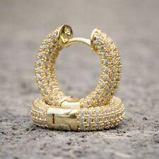 Silver Hoops Huggie Hoop Earrings Rc1 Mens Iced Cz Small Yellow Gold Sterling