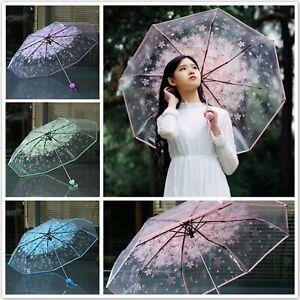 Exquisite Transparent Clear Umbrella Cherry Blossom Sakura 3 Fold Romantic Prop