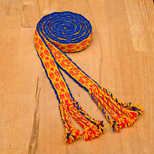 Gewandung Mittelalter Reenactment brettchengewebter Gürtel Wolle blau-rot-gelb2m