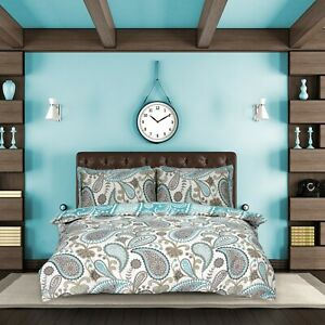 Paisley Teal Duvet Cover Bedding Quilt Set Pillowcases Single Double King Modern