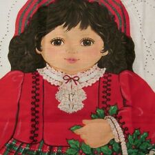 Cranston fabric panel doll pillow soft sculpture Christmas Heather Scotty Dog 18