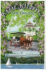 Mackinac Michigan, Horse Carriage, Grand Hotel, Gazebo etc. MI - Modern Postcard