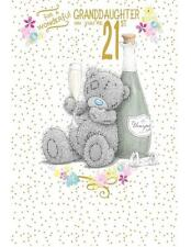 ME TO YOU WONDERFUL GRANDDAUGHTER ON YOUR 21ST BIRTHDAY CARD TATTY TEDDY BEAR