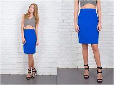Vintage 90s Escada Blue Angora Skirt pencil straight High Waist Silk Wool S