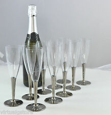 10 Pack Disposable Silver Stemed Champagne Flutes / Glasses for party - picnic